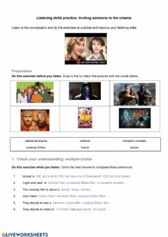 Interactive worksheet Inviting someone to the cinema