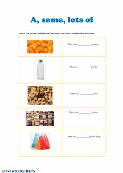 Interactive worksheet A, some, Lots of