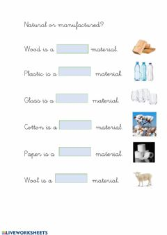Interactive worksheet Natural or manufactured?