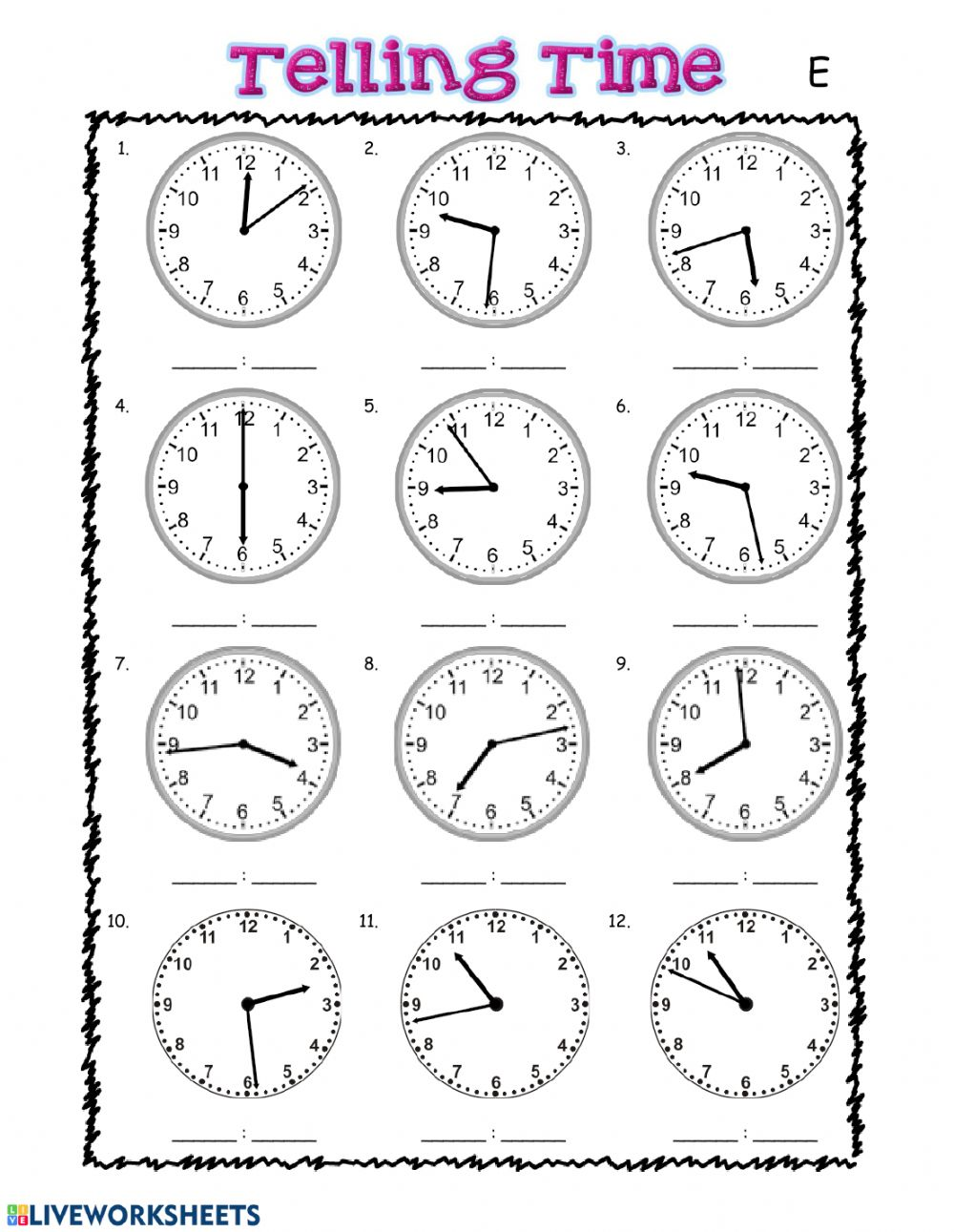 Telling Time interactive exercise for grade 20
