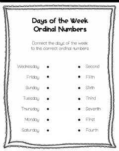 Ficha interactiva Days of the Week - Ordinal Numbers