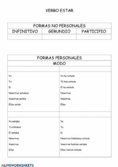 Interactive worksheet Verbo estar