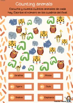 Interactive worksheet Counting animals