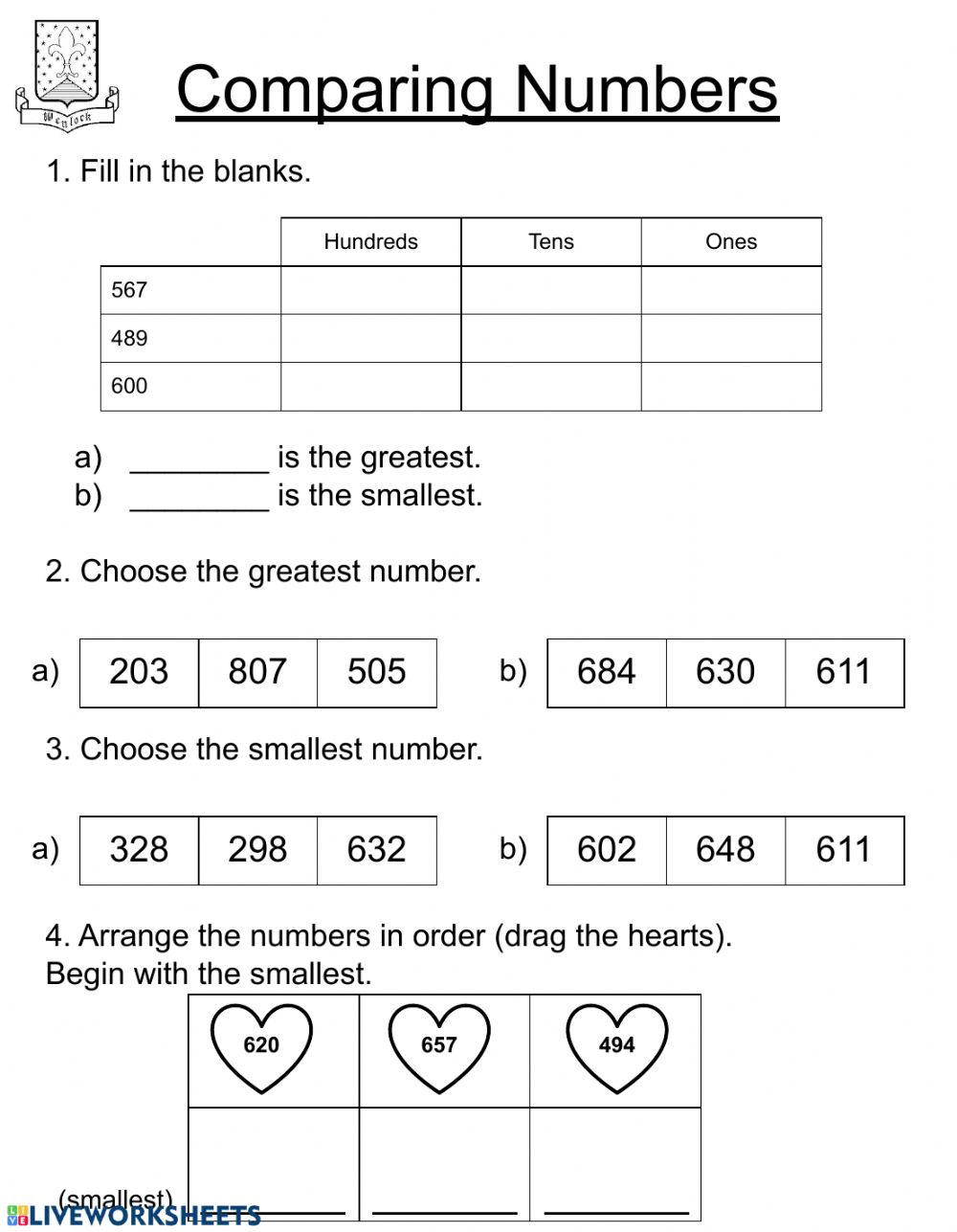 Comparing numbers - Second Grade worksheet