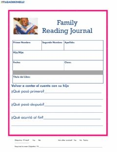 Ficha interactiva Reading Journal 19 - Spanish