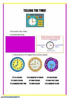 Interactive worksheet Telling the time!