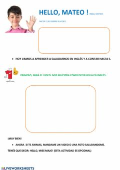 Interactive worksheet Hello, numbers 1 to 5