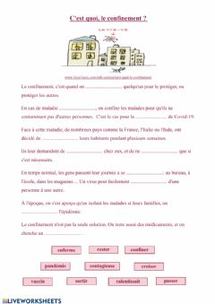 Interactive worksheet Le confinemet