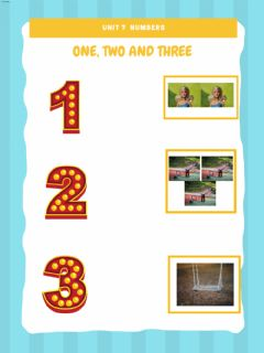 Interactive worksheet One, two and three