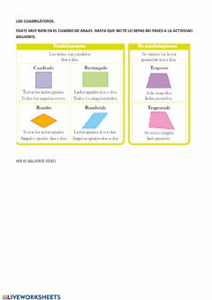 Interactive worksheet Los cuadrados.