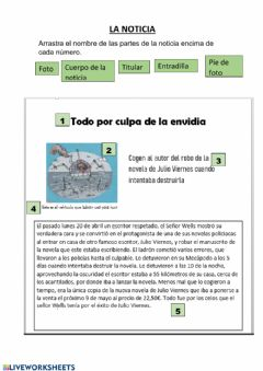 Interactive worksheet Partes de la noticia