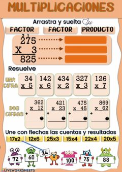 Interactive worksheet Multiplicaciones de 1 y 2 cifras