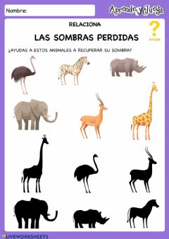 Interactive worksheet Sombras Animales