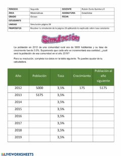 Interactive worksheet Tasa constante