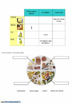 Interactive worksheet Food groups and nutrients