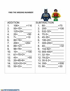 Interactive worksheet BATMAN math