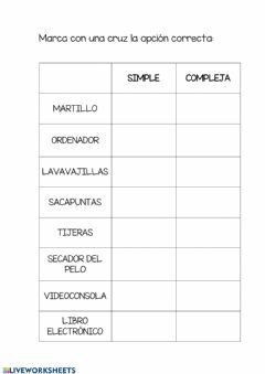 Interactive worksheet Máquinas simples o complejas