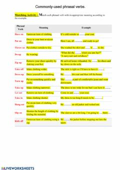 Interactive worksheet Phrasal verbs 1