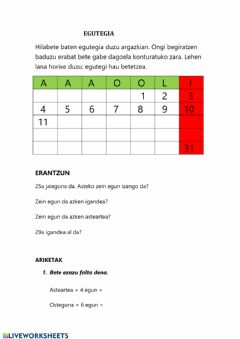 Interactive worksheet Egutegia