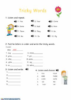 Interactive worksheet Listening tricky words yellow level