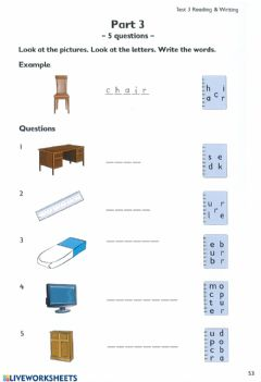 Interactive worksheet School supplies-spelling