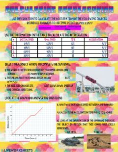 Interactive worksheet Calculating Acceleration