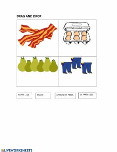 Interactive worksheet Don't forget the bacon - drag and drop