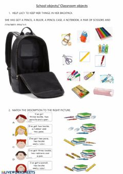 Ficha interactiva Classroom objects