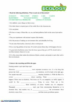 Interactive worksheet Ecology