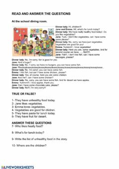 Interactive worksheet Ath the school canteen