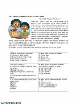 Interactive worksheet Reduce, Reuse, Recycle comprehension