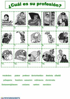 Interactive worksheet Las Profesiones