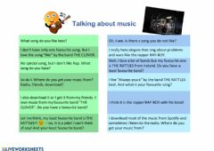 Interactive worksheet Talking about music