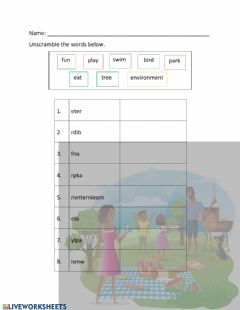 Ficha interactiva Environment Unscramble