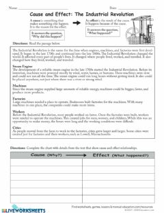 Interactive worksheet Industrialization Cause and Effect