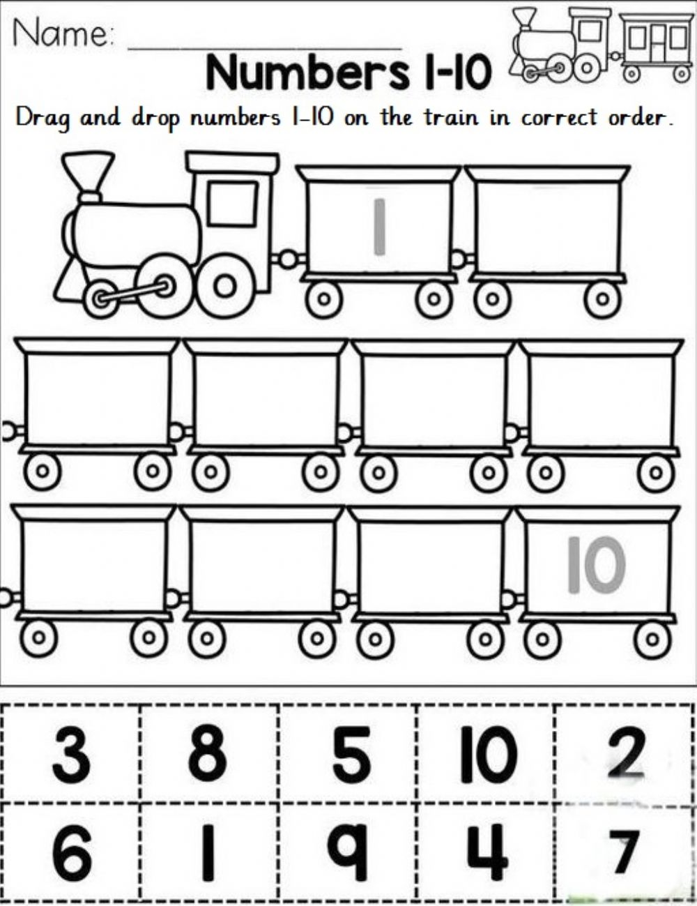 Sequence number in correct numbers 1-10 worksheet