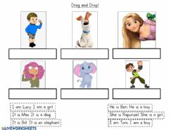 Interactive worksheet Drag and drop - He she it I