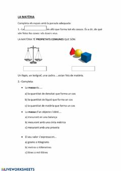 Interactive worksheet La matèria