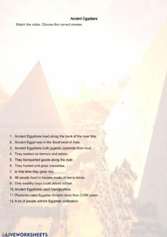 Interactive worksheet Ancient Egyptians