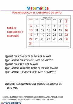 Interactive worksheet Calendario mes de mayo