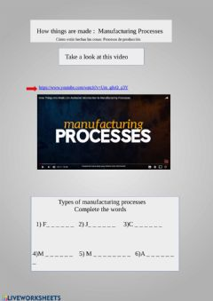 Interactive worksheet Manufacturing processes