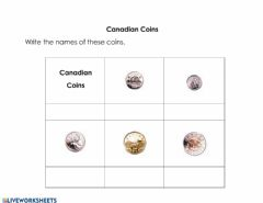 Interactive worksheet Canadian Coins