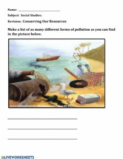 Interactive worksheet Conserving our resources