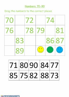Interactive worksheet Numbers 70-90