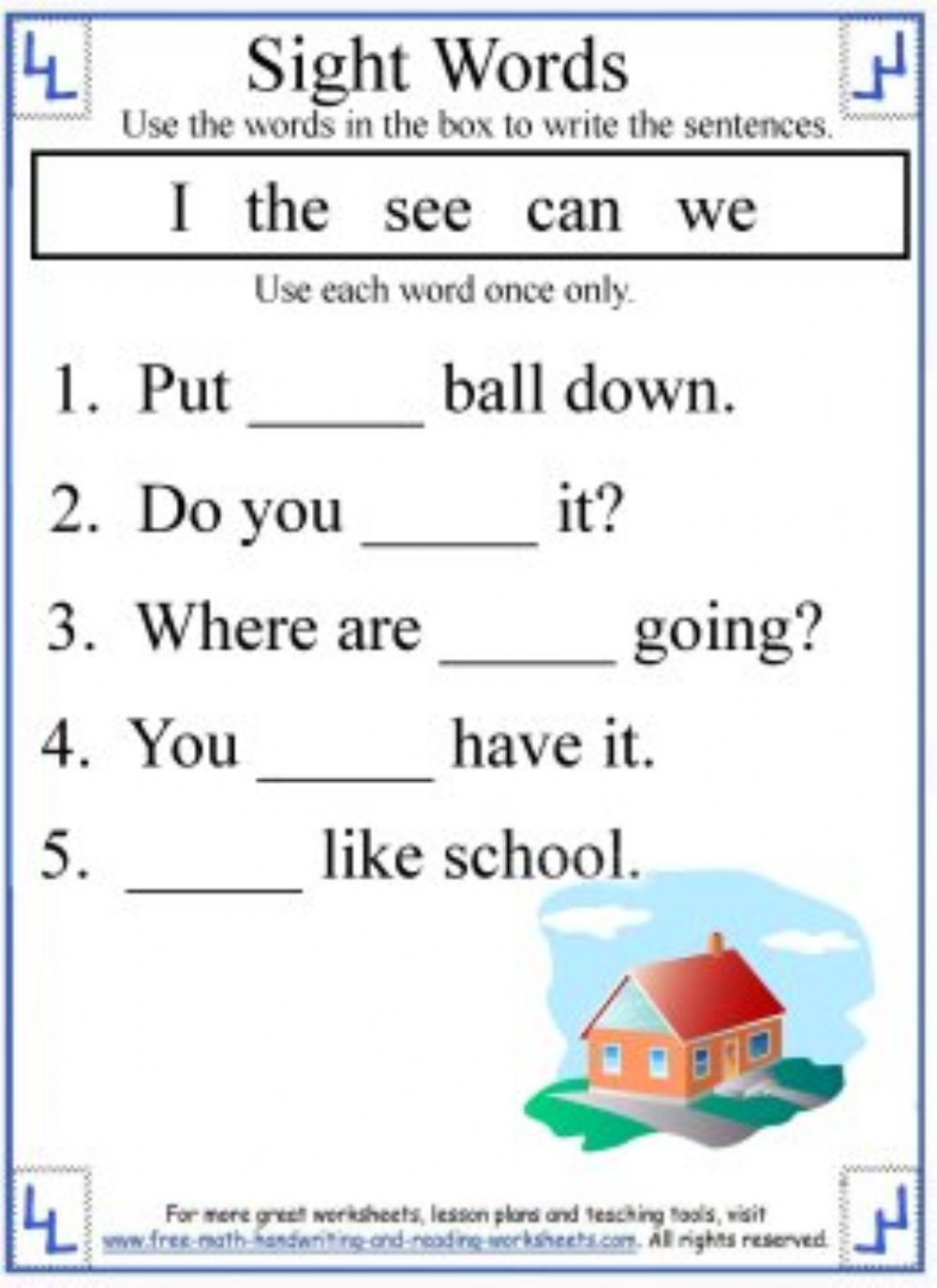Sight words - Interactive worksheet
