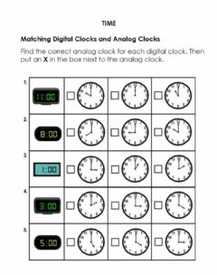Interactive worksheet Match Digital and Analog Clocks