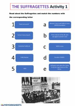 Interactive worksheet The suffragettes