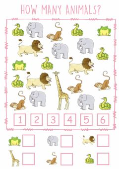 Interactive worksheet Dear Zoo Counting Animals