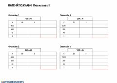 Interactive worksheet Multiplicaciones ABN II