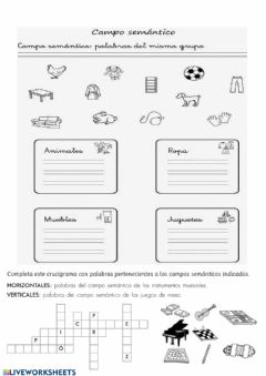 Interactive worksheet Campos semánticos